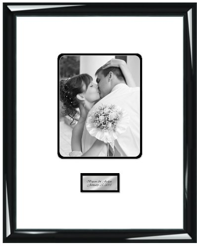 Engraved Signature Wedding Picture Frame Guest Book Frame With Round Corner 8W X 10H Portrait Photo - Top Mat White Inner Mat Black - Premium Wood Glossy Majestic Black - Gold Or Silver Engraved Plate - Overall Frame Size 19W X 23H - Retirement Baby Showe front-14270