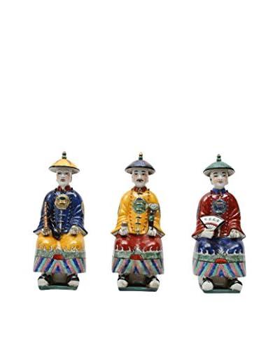 Winward Set of 3 Ceramic Kings, Multicolor