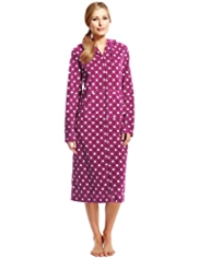 Zip Through Spotted Micro Fleece Dressing Gown