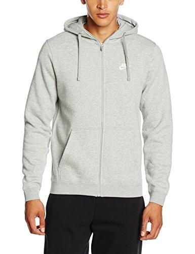 Nike Mens Sportswear Full Zip Club Hooded Sweatshirt Light Grey/White 804389-063 Size Medium