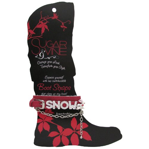 Sugar and Vine red Boot Strap with word SNOW and bunny charm