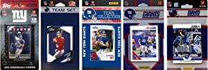 NFL New York Giants 5 Different Licensed Trading Card Team Sets by C&I Collectables