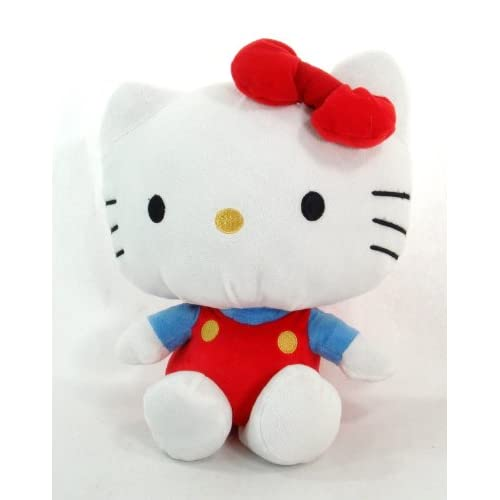 Sanrio Hello Kitty 7 Plush Doll in Her Blue Shirt and Red Overall