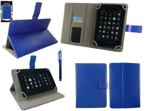 Emartbuy® Engel Axil TB0725IPS 7 Zoll Tablet Universalbereich Blau Multi Angle Exekutiv Folio Mappen Kasten Abdeckung mit Kartensteckplätze + Blau Eingabestift