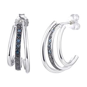 1/10 CT. Blue Diamond Hoop Earrings In Sterling Silver from FineDiamonds9