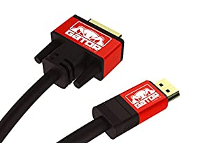 Gator Cable 6 feet Red DVI-D Male to HDMI Cable with rugged and durable aluminum metal housing Gold 24+1 HDTV DVI HDMI 1080P HD High Definition TV monitor adapter by Gator Cable LLC