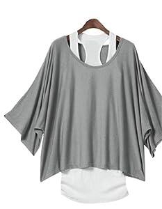 2 en 1 Tops Femmes Casual Debardeur Basique + T Mode Chauve-souris Veste Pull en Jersey Fille EU Taille 34-44,Gris