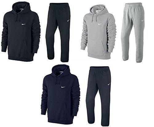 Nike Uomo Pile Tuta Da Jogging Cappuccio Swoosh Tuta Con Cappuccio JogPant Set Nero/Grigio/Blu Navy S M L XL 61147/611459 Nuovo - grigio melange, Medium