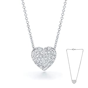 Swarovski Elements Crystal Heart Pendant Necklace with an 18 Inch Chain Inlcuded. Nickel Free Platinum Plated.