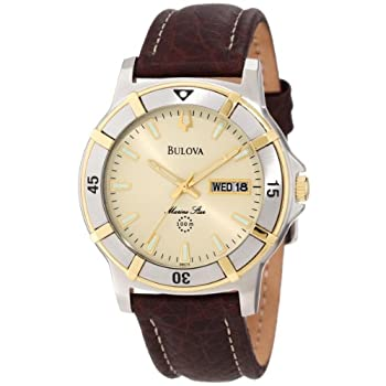This sophisticated, versatile watch from Bulova boasts the beauty of a leather band the convenience of a waterproof design. The Bulova Men's Marine Star Watch features a water-resistant brown leather band that joins to a stainless steel case. A gold-...