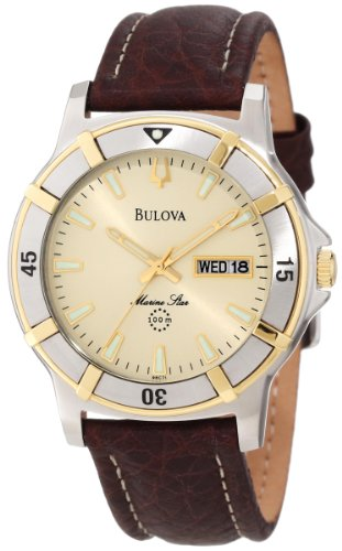 Bulova Men's 98C71 Leather Quartz Watch with Beige Dial