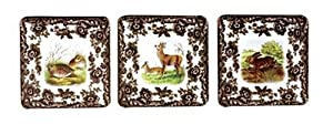 Spode Woodland 4-Inch Square Coasters, Set of 6, Birds