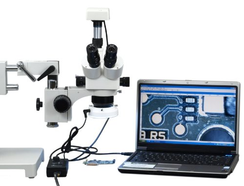 Omax 5X-80X Digital Zoom Binocular Dual-Bar Boom Stand Stereo Microscope With 54 Led Ring Light And 1.3Mp Usb Camera