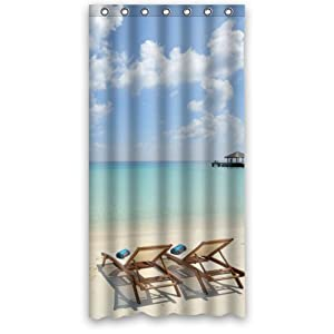custom beach chairs 100 polyester shower curtain 36 x 72 home kitchen. Black Bedroom Furniture Sets. Home Design Ideas