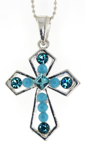 Turquoise and Zircon Blue Dainty Cross Pendent Necklace