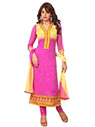 Pushty Fashion Womens Magnet Pink Suit Georgette Semistiched
