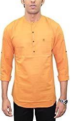 AA' Southbay Men's Tangy Orange 100% Cotton Long Sleeve Solid Amsler Casual Short Kurta