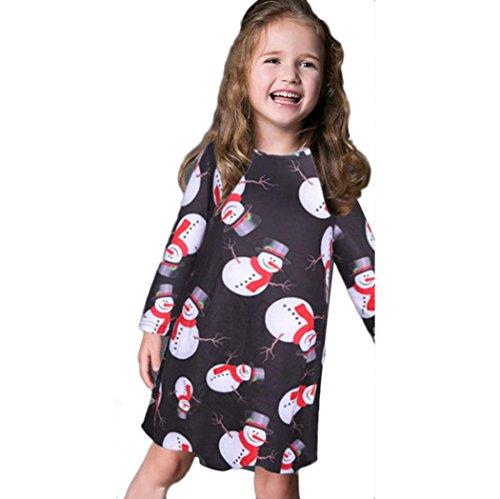 Toraway Kids Baby Girls Xmas Long Sleeve Snowman Christmas Print Swing Party Dress (3-6 Year, Black)