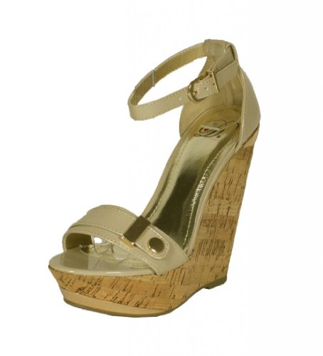 Nicoya! By Delicious Open Toe Platform Cork Wedge Sandal With Ankle Strap And Gold Décor, Bone Patent Leather, 6 M front-984817
