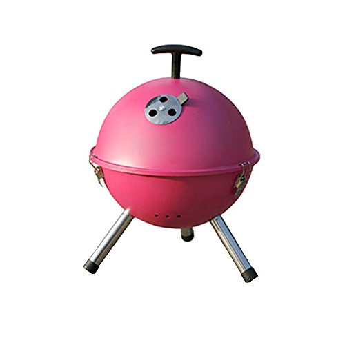 Lohome(Tm) Folding Portable BBQ Circular Round Barbecue Grill Campfire Cooking Set Furnace Outdoor Carbon Roti Oven Courtyard Cookware (Rose Pink)