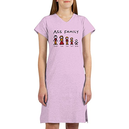 Royal Lion Women's Nightshirt (Pajamas) Ass Family Smart Wise Jack Lazy Dumb - Pink, Small (Wise Ass)