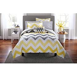 Popular 6-Piece Mainstays Yellow Grey Chevron Bed in a Bag Bedding Comforter Set, Twin/Twin XL