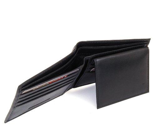 Imagen de Monedero Alpine Men suizo plegable de cuero con Flip Up Window ID - extraíble - Negro Viene en una bolsa de regalo
