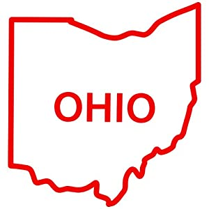 Amazoncom Ohio State Outline Decal Sticker red 5 Inch