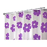 InterDesign Poppy X-Wide Shower Curtain, Purple, 108-Inch by 72-Inch
