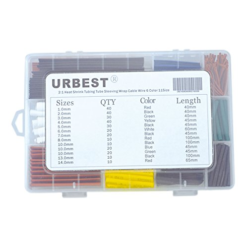 URBEST® 300Pcs 2:1 Heat Shrink Tubing Tube Sleeving Wrap Cable Wire 6 Color 11Size (Wire Tubing compare prices)