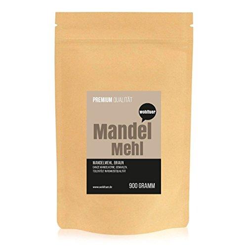 Wohltuer Premium Mandelmehl 900g - Glutenfrei, Cholesterinfrei, Nährstoffreich - Low Carb Food (5,7g auf 100g!) - Vegetarisch und Vegan - vielseitiges Lebensmittel in geprüfter Premium-Qualität