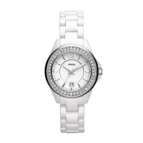 Fossil Ladies Mini Ceramic Watch CE1053 With White Dial, Stone Encrusted Topring , White Ceramic Case And Bracelet