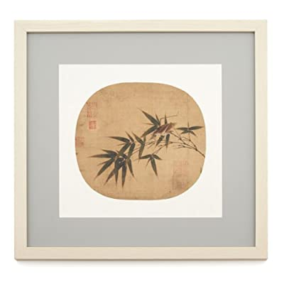 Bamboo Twig with Grasshopper (Framed Print)||EVAEX