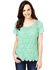 Scoop Neck Crochet Lace T-Shirt