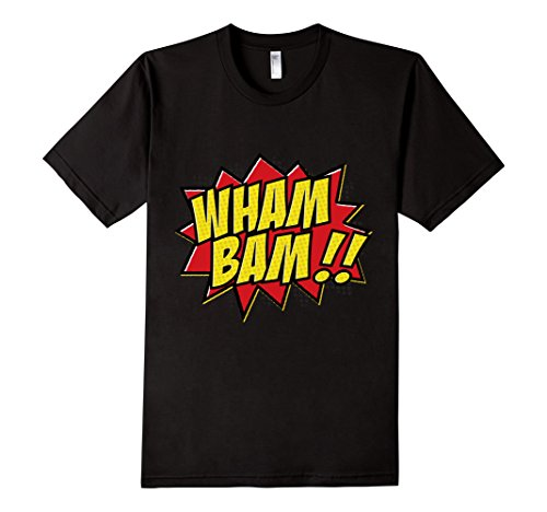 Mens-EmmaSaying-Wham-Bam-Pop-Art-Retro-Teen-Bazooka-Style-Shirt-Black