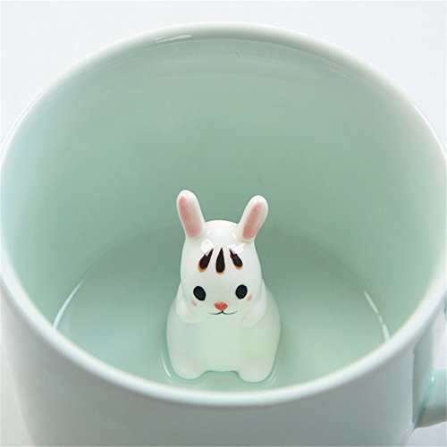 ZaH 300ml 3D Animal Cup Morning Mug, White Rabbit