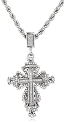 Silvertone Sandblast Cross & Crown Pendant with a 24 Inch 4mm Rope Chain