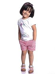Oye Girls Gingham Shorts - Orange (2-3Y)