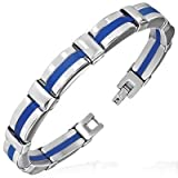 Urban Male Blue Rubber & Stainless Steel Fashion Bracelet