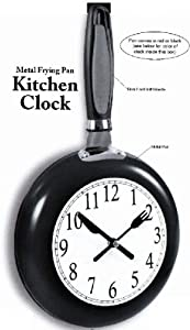Metal Frying Pan Kitchen Clock (Black)