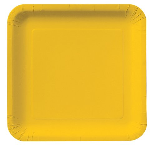 School Bus Yellow (Yellow) Square Dessert Plates Party Accessory 18- 6 7/8in (17.4cm)