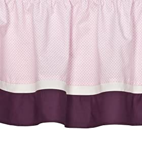 Tiddliwinks Crib Dust Ruffle- Plum Butterfly
