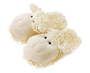 "Fuzzy Friends Slippers Lamb 10"" by Aroma Home"