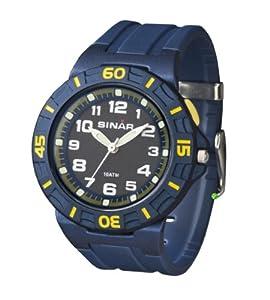 Sinar Armbanduhr - Jugenduhr analog - mit Drehring und EL-Licht - blau