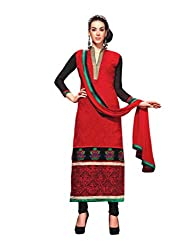 Kanheyas Red Georgette Long Embroidered Dress Material