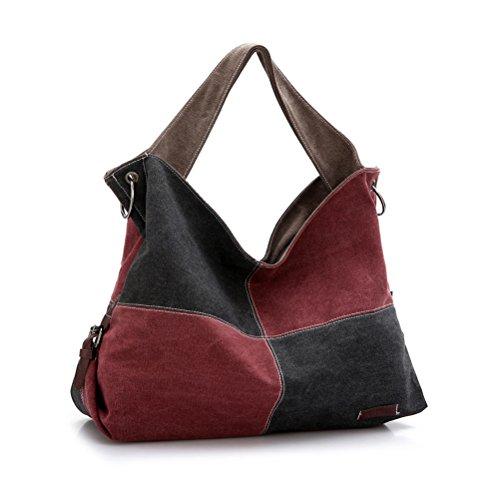 Umily Borsa tote da donna a mano di tela da viaggio casual Shopper-Nero