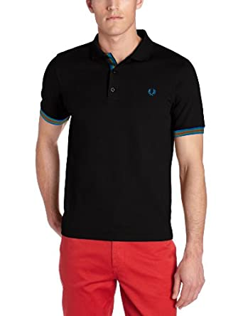 Fred Perry Men's Taped Multi Tipped Polo, Black, X-Small