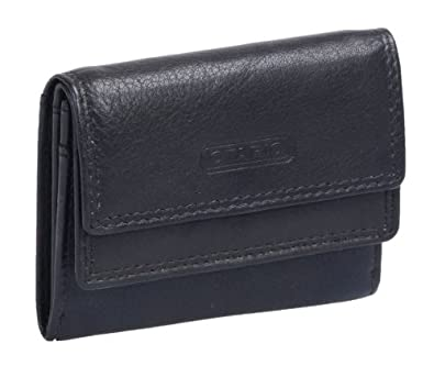 Petit portefeuille pour homme OTARIO , cuir véritable, noir 10x7,5cm
