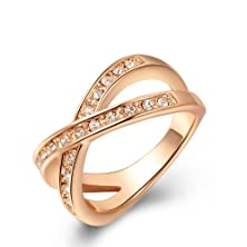 buy I'S Rose Gold Plated Bridal Wedding Twisted With Austrian Crystal Engagement Ring (8)