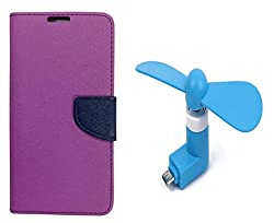Novo Style Book Style Folio Wallet Case Micromax Canvas Selfie Lens Q345 Purple + Smallest Mobile Fan Android Smart Phone